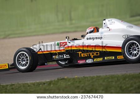 Imola, Italy - October 11, 2014: A Tatuus F.4 T014 Abarth of  Diegi Motorsport team, driven By Giudice Jonathan (Che),  the Italian F4 Championship car racing on October 11, 2014 in Imola, Italy.