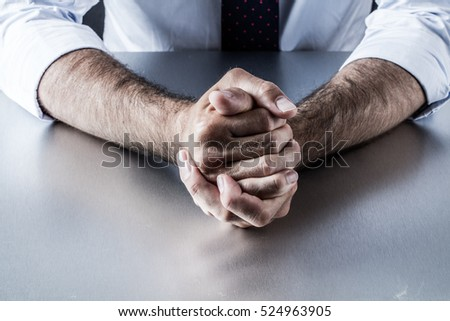 impatient bossy businessman hands and gestures holding tight expressing controlled frustration, anger and tension annoyed by management #524963905