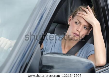 impatient female car driver stuck in traffic Сток-фото ©