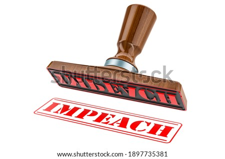 Impeach stamp. Wooden stamper, seal with text impeach, 3D rendering isolated on white background Foto d'archivio ©