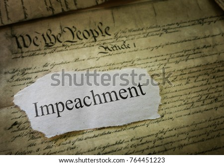 Impeachment news headline on a copy of the United States Constitution                                Foto d'archivio ©