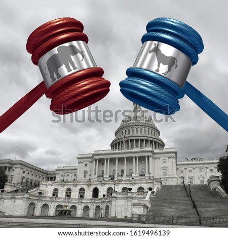 Impeachment trial and impeaching the american president as congress and law in the United States with 3D illustration elements. Foto d'archivio ©