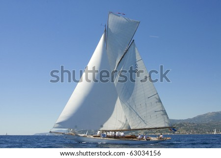 IMPERIA, ITALY - SEPT 11:Ancient sailing boat before a regatta at the Panerai Classic Yachts Challenge on Sept 11, 2010 in Imperia, Italy. The event starts from 8-12 Sept, 2010. - stock photo