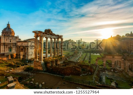 Imperial Fora (Fori Imperiali - Imperial Forum) During the Sunrise Time. Imperial Fora is situated in the Old Rome,it is one of the most famous attraction of the Capital. With Coliseum Background.