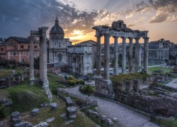 Imperial Fora (Fori Imperiali - Imperial Forum) Epic Sunrise. Imperial Fora is situated in the Old Rome, it is one of the most famous attraction of the Capital.
