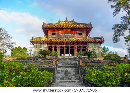 Imperial Minh Mang Tomb in Hue city, Vietnam. A UNESCO World Heritage Site. Beautiful day with blue sky. Travel and landscape concept. Stock fotó ©