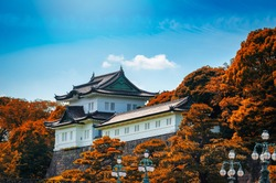Imperial Palace with autumn leaf at daytime in Tokyo, Japan.