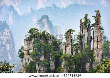 Imperial Pen Peak of Zhangjiajie. Located in Wulingyuan Scenic and Historic Interest Area which was designated a UNESCO World Heritage Site as well as an AAAAA scenic area in china.