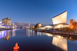 Imperial War Museum on the banks of Manchester Canal in Salford Quays, Manchester.