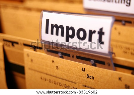 import word on business office folder showing internation trade or globalisation concept