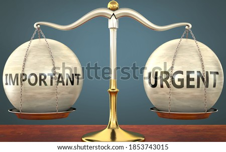 important and urgent staying in balance - pictured as a metal scale with weights and labels important and urgent to symbolize balance and symmetry of those concepts, 3d illustration