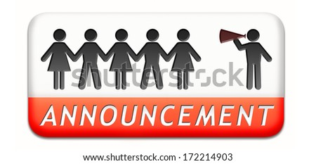 important announcement loudspeaker warning sign paper chain silhouette