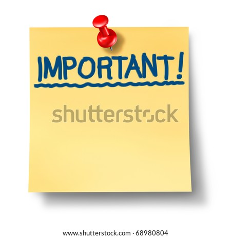 stock photo important critical attention reminder office post note with red thumb tack isolated message 68980804 Image