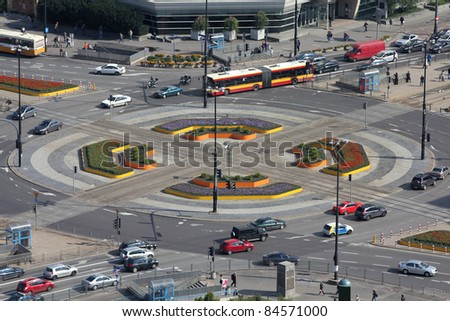 Important intersection and city traffic view in Warsaw, Poland. Aerial cityscape. Aleje Jerozolimskie and Marszalkowska streets.