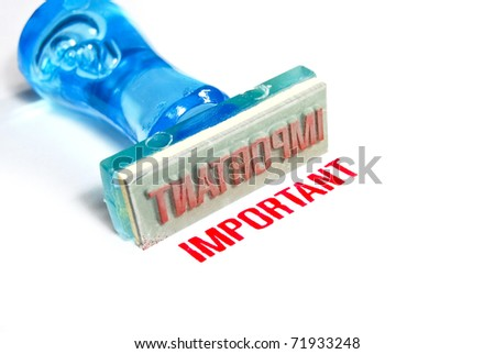 important letter on blue rubber stamp isolated on white background