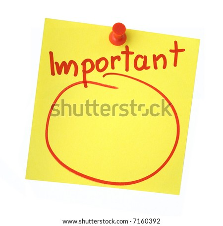 Important note isolated on pure white background