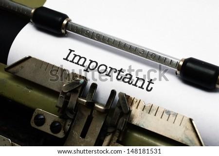 Important text on typewriter