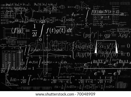 Impregnable mathematics. Crazy mathematics formulas - stock photo