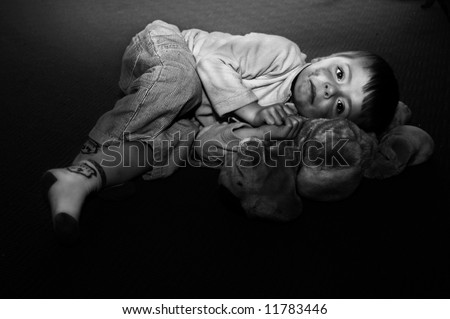 Impression of an abused child.