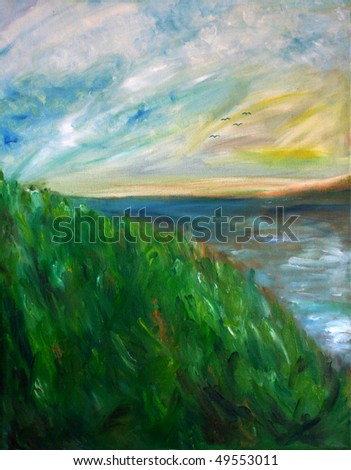 Impressionist style oil painting of a grassy hill and lake on a sunny day.