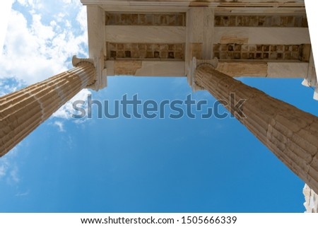 Impressions from Acropolis of Athens - temple columns in front of the sky