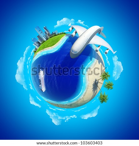 Impressive big plane rounding the globe. Mini planet concept. City center and tropical beach on the opposite sides.Cruise liner in the ocean. Travel and business concept. Earth collection.