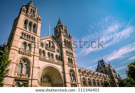 Impressive building of the Natural History Museum in London, England #511346401