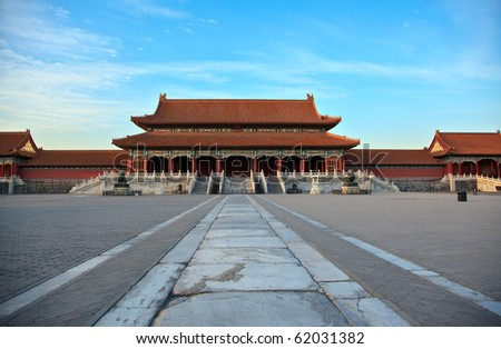 Impressive chinese architecture. Forbidden city at dusk in Beijing, China