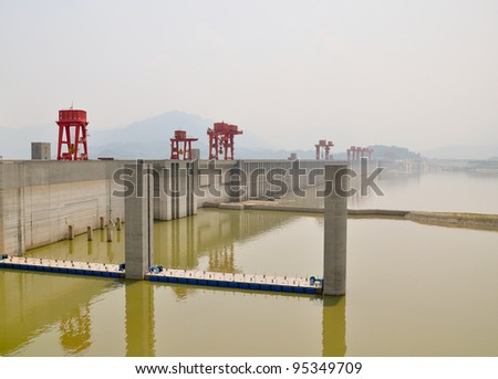 impressive construction site of the three gorges dam in china