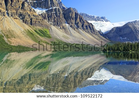 Impressive glacier rock reflection in the mountain lake. Rocky Mountains (Banff National Park. Alberta. Canada)
