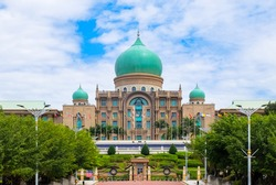 Impressive governmet building with green dome in Putrajaya, Malaysia