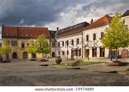 Impressive heavy sky over the old town square.Location:Baia Mare,Maramures,Romania,Europe.