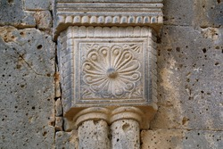 Impressive Historic Stone Carving Details on the Facade of Sanahin Monastery, Historical Place in Lori Province, Armenia