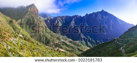 Impressive nature of volcanic Tenerife - beautiful Masca mountain village. Canary islands