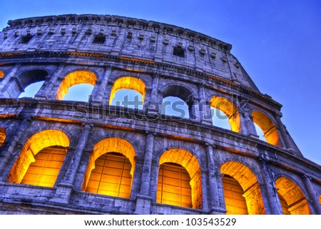 Impressive night  view of the Colosseum, Rome, Lazio, Italy