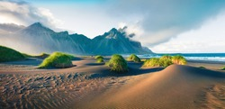 Impressive summer panorama of green dunes on the Stokksnes headland with Vestrahorn (Batman) mountain on background, southeastern Iceland, Europe. Beauty of nature concept background.