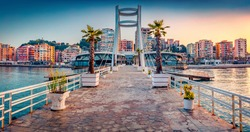 Impressive sunrise in Durres, port city on the Adriatic Sea in western Albania, Europe. Wonderful Adriatic seascape. Magnificent spring scene of Albania. Traveling concept background.
