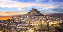 Impressive view of medieval village Morella Castellon, Valencian province of Spain