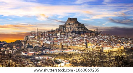 Impressive view of medieval village Morella Castellon, Valencian province of Spain
