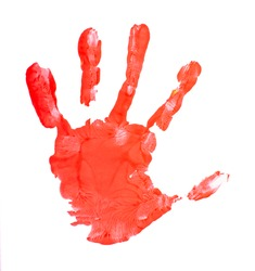 Imprint of child's left hand in red color on white background