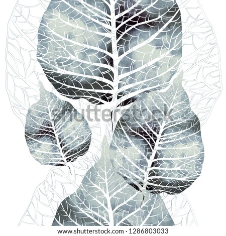 imprints abstract tender leaves with veins mix repeat seamless pattern. digital hand drawn picture with watercolour texture. mixed media artwork. endless motif for textile decor and design