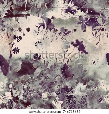 imprints bouquet of meadow flowers and herbs seamless pattern. abstract watercolor and digital hand drawn picture. mixed media artwork for textiles, fabrics, souvenirs, packaging and greeting cards.