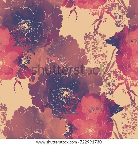 imprints bouquet of poppies and meadow grasses seamless pattern. abstract watercolor and digital hand drawn picture. mixed media artwork for textiles, fabrics, souvenirs, packaging and greeting cards