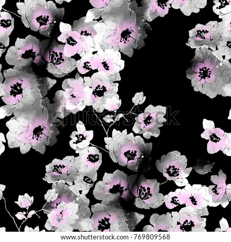 Stock Photo imprints delicate cherry blossoms mix seamless pattern. abstract watercolour and digital hand drawn picture. mixed media artwork for textiles, fabrics, souvenirs, packaging and greeting cards.
