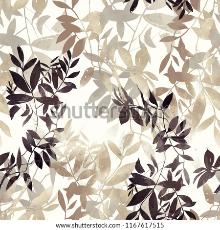 imprints Japanese style abstract twigs with leaves mix repeat seamless pattern. digital hand drawn picture with watercolour texture. mixed media artwork. endless motif for textile decor and design