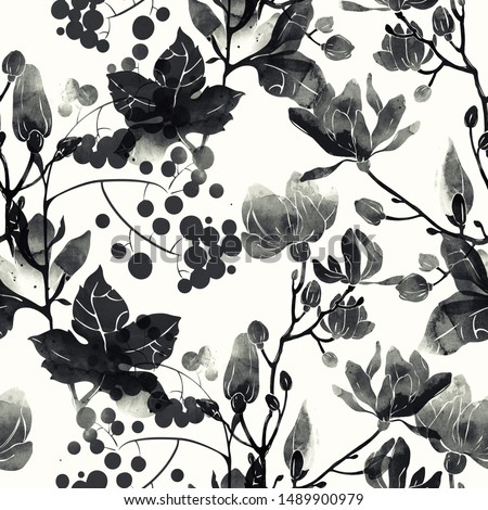 imprints monochrome black and white leaves and flowers mix repeat seamless pattern. digital hand drawn picture with  watercolour texture. mixed media artwork. endless motif for textile decor and bota