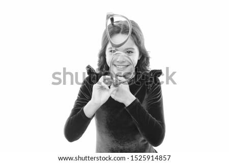 Improve eyesight. Girl kid wear big eyeglasses isolated white background. Optics and eyesight treatment. Effective exercise eyes zooming. Child happy with good eyesight. Eyesight and eye health.