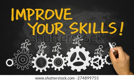 improve your skills concept hand drawing on blackboard