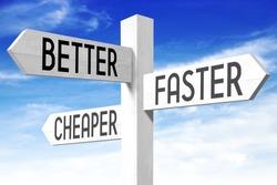 Improvement concept - (better, faster, cheaper) signpost