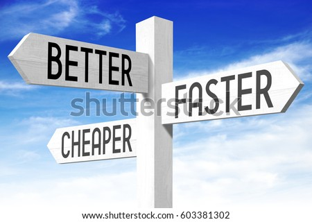Improvement concept - (better, faster, cheaper) signpost Stockfoto ©